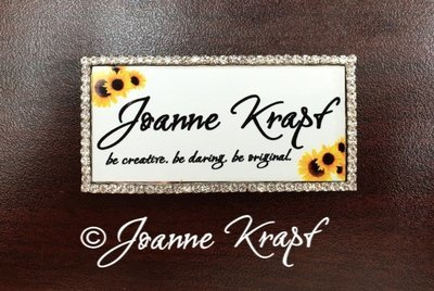 Rhinestone Name Badge -Silver Rectangle with Color Ink FREE SHIPPING