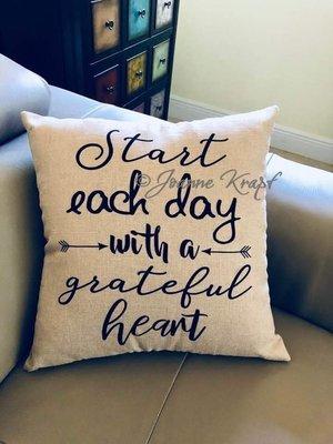 Grateful Heart Square Pillow