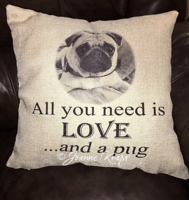 All You Need is Love and a Pug Square Pillow