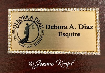 Rhinestone Name Badge - Gold Rectangle with Black Ink FREE SHIPPING