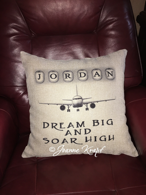 Soar High Square Pillow - (Personalized)