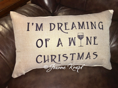 "I'm Dreaming of a Wine Christmas Lumbar Pillow - 12"" x 20"""