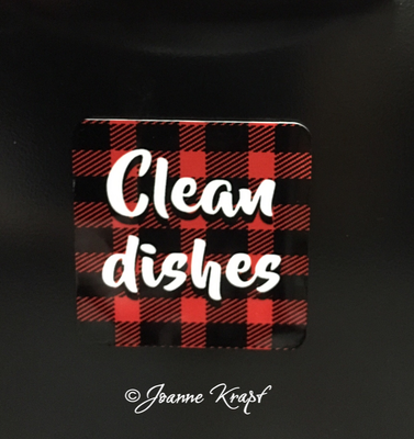 Magnet - Clean Dishes with Buffalo Plaid 2 inch Square
