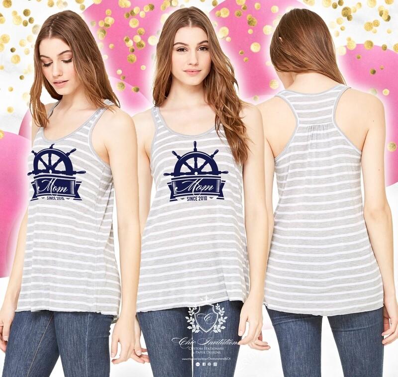 Stripe tank nautical, mom since t-shirt, custom t-shirt, stripe grey and white