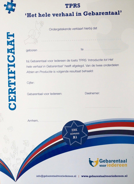 """Certificaat - TPRS """"Het hele verhaal in Gebarentaal"""" niveau 1"""