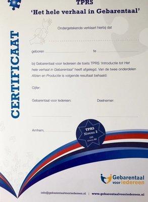 """Certificaat - TPRS """"Het hele verhaal in Gebarentaal"""" niveau 3"""