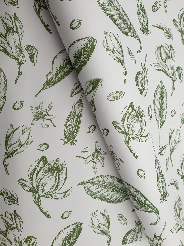 Bespoke Newsprint Reams 420 x 594 mm Vintage Flower Olive (Qty 10)