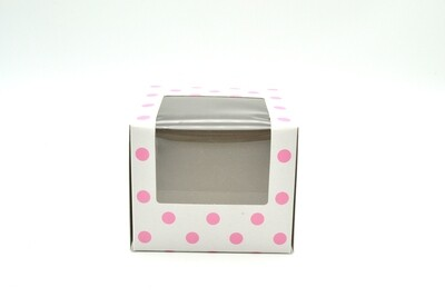 CupCake Single Box Window White- Polka Dots Light Pink (ea)