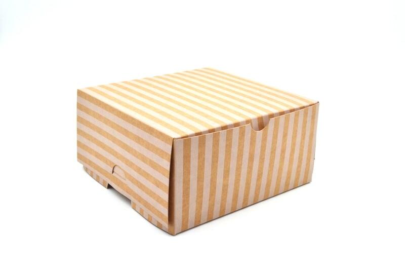 Cake Box Eco Brown White Stripe 6 x 6 x 3