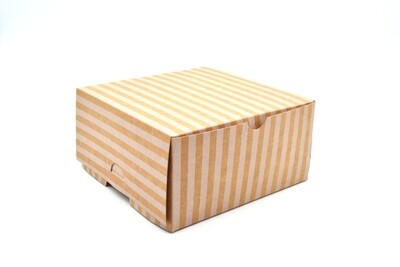 Cake Box Eco Brown White Stripe 6 x 6 x 3