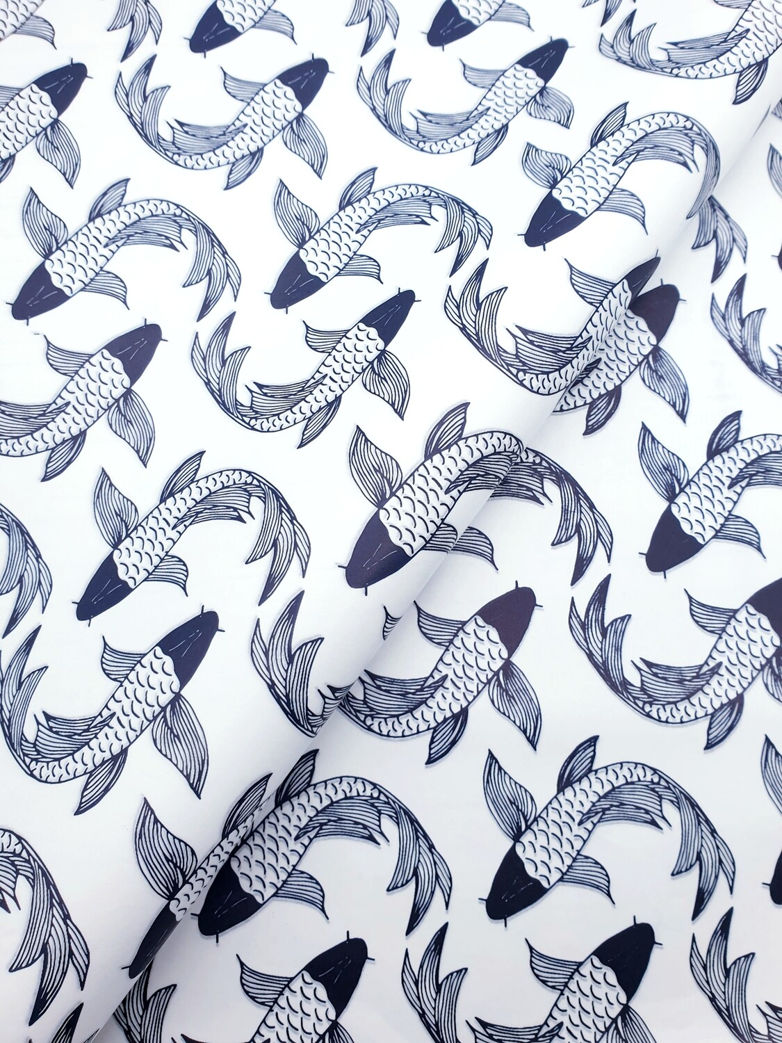 Tissue Paper - Fish - Navy On White (Qty 25)