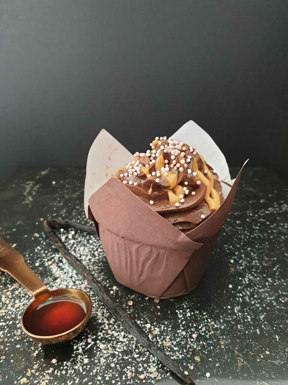 Muffin Cups Fancy Flower Brown (Qty 100)