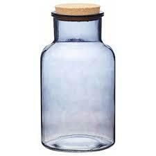Smoked Glass Cork Lidded Storage Jar - Large