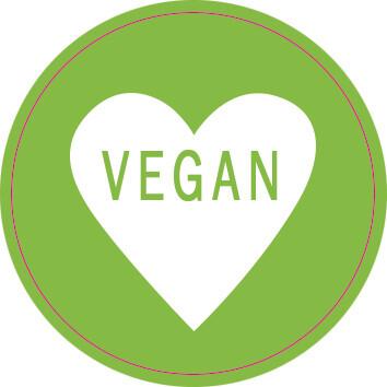 Labels Round Green Heart - Vegan (Qty 100)