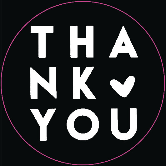 Round Stickers 45mm 'Thank You' White on Black (Qty 100)
