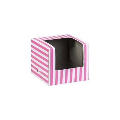CupCake Single Window White - Stripe Lumo Pink (ea)