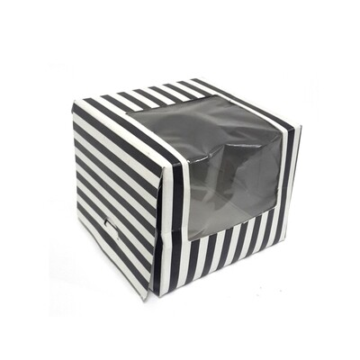 CupCake Single Window White - Stripe Black (ea)