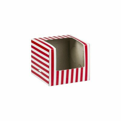 CupCake Single Window White - Stripe Red (ea)