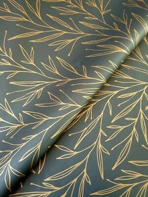 Tissue Paper - Christmas Leaf - Bronze on Black - (Qty 25)