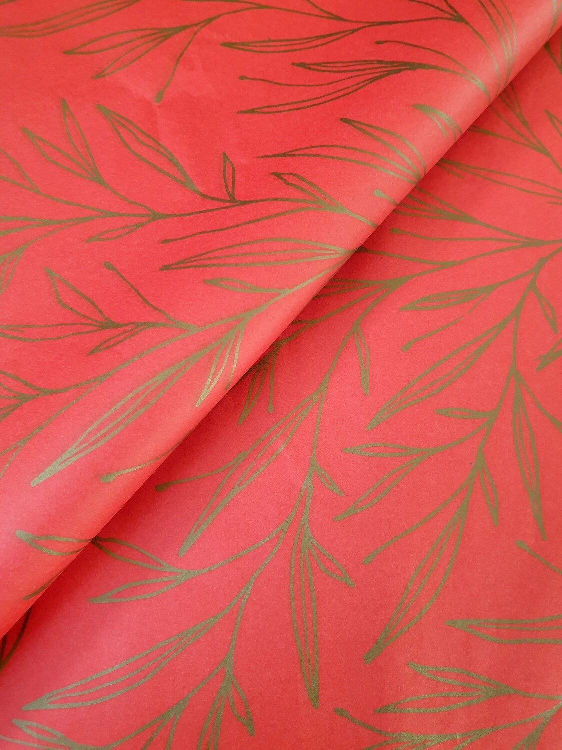 Tissue Paper - Christmas Leaf - Gold on Red - (Qty 25)