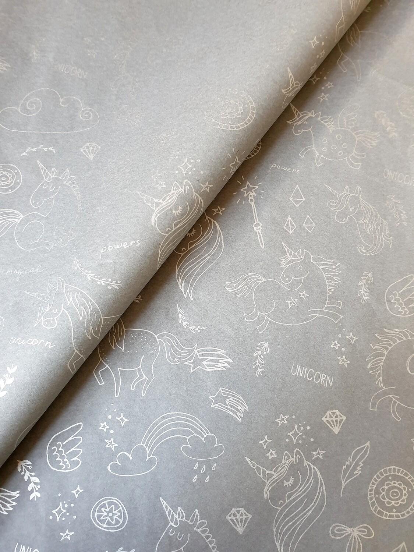 Tissue Paper - Unicorns - Silver On Grey - (Qty 25)