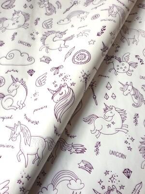 Tissue Paper - Unicorns - Purple On White - (Qty 25)