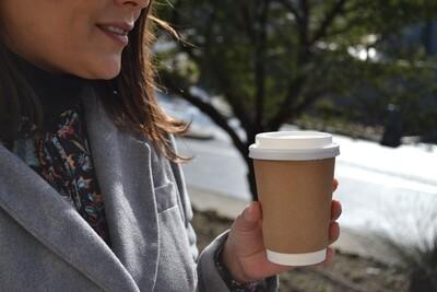 Coffee Cups Double Wall 350ml - Kraft (Qty 50)