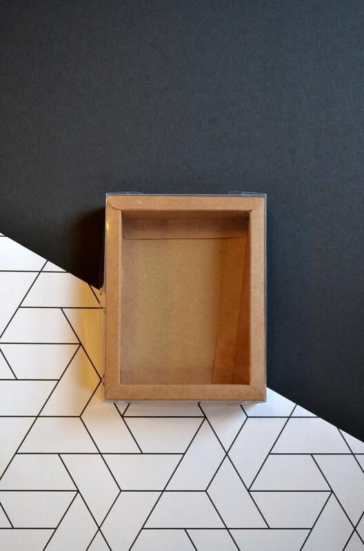 Box Kraft Base with PVC Lid 110x142x35 mm (ea)