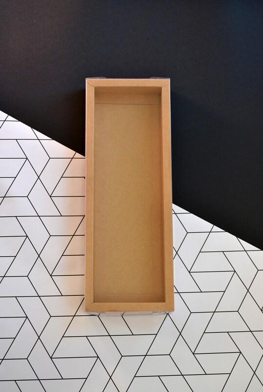 Box Kraft Base with PVC Lid 110x305x35 mm (ea)