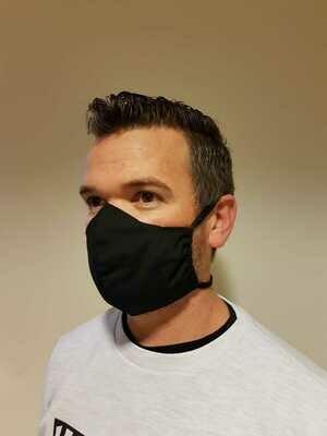 Face Mask 100% cotton tie back - Black