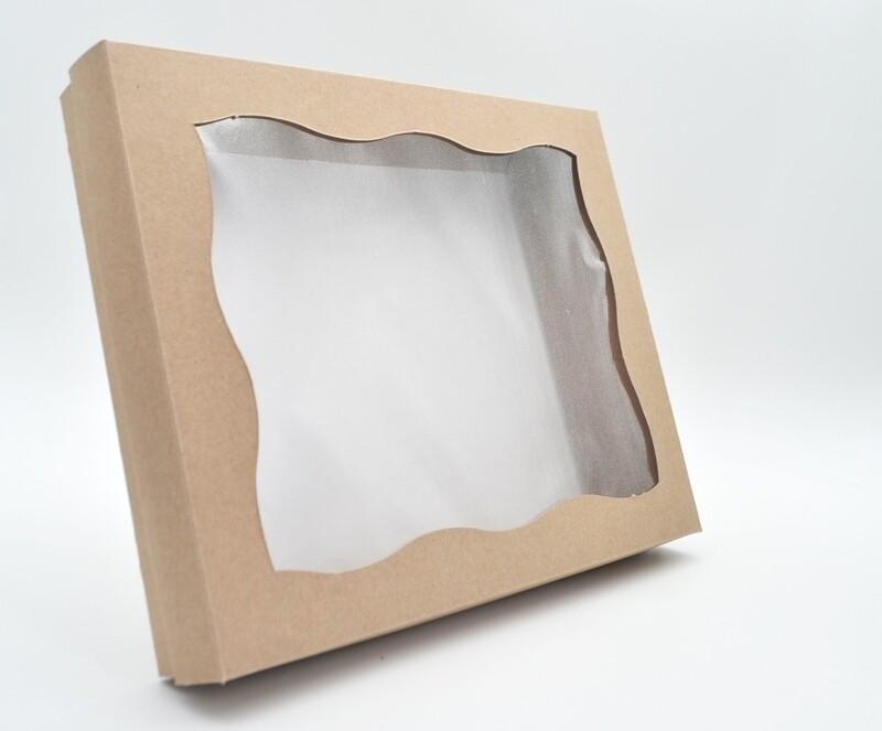 Box Base & Lid + Window Kraft 254x203x40mm (ea)
