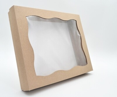 Box Base & Lid + Window Kraft 254x203x40mm (ea)