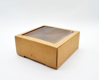 Cake Box Window 7 x 7 x 3 Kraft (ea)