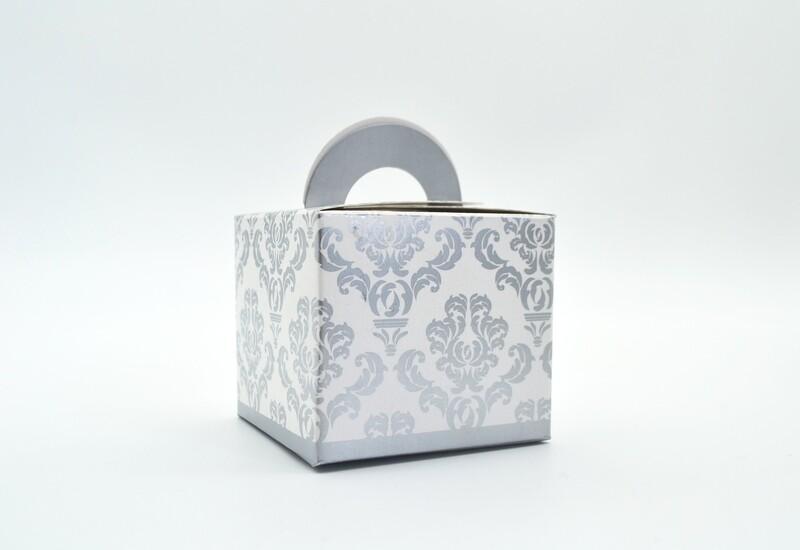 Novelty Box Damask 65x65x60mm Silver (ea)