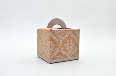 Novelty Box Damask 65x65x60mm White on Kraft (ea)