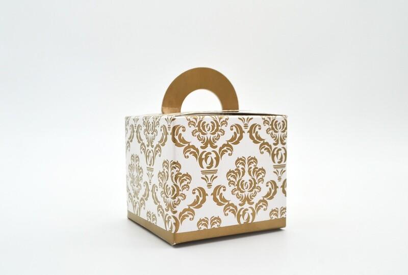 Novelty Box Damask 65x65x60mm Gold (ea)