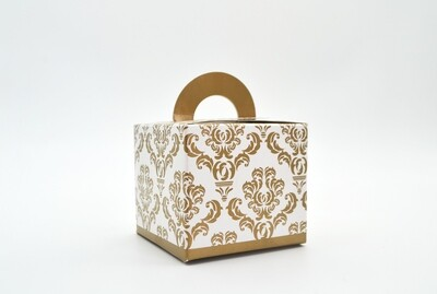 Novelty Box Damask 65x65x60mm Gold (ea)
