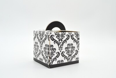 Novelty Box Damask 65x65x60mm Black (ea)