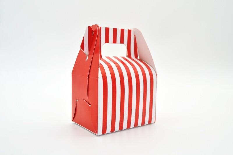 Mini Party Box 70x50x50mm Red Stripe (ea)