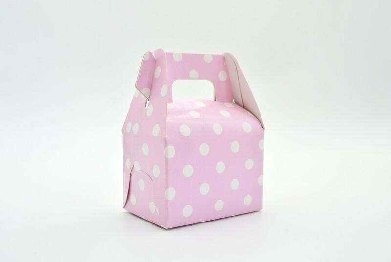 Mini Party Box 70x50x50mm Pink Dot (ea)