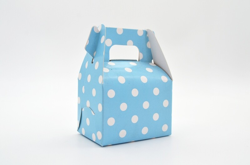 Mini Party Box 70x50x50mm Baby Blue Dot (ea)