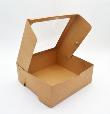 Cake Box Window 8 x 8 x 3 Kraft (ea)