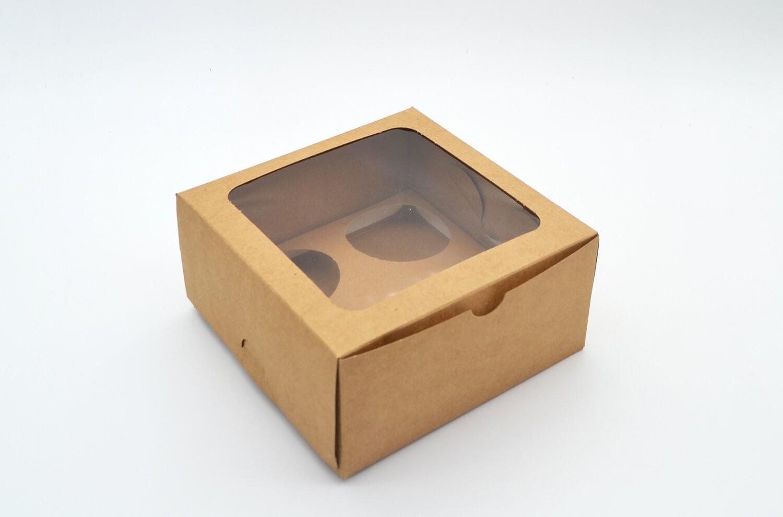 Cake Box Window 6 x 6 x 3 Kraft (ea)
