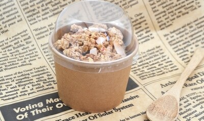 Tub Ice Cream + Plastic Dome Lid Combo Kraft 350ml (Qty 50)