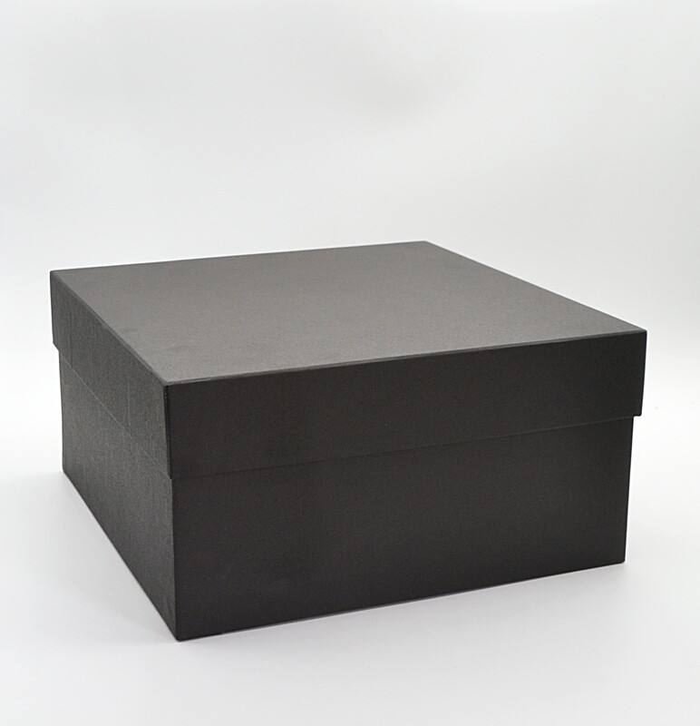 Corrugated Square Big Black Box + Lid 27.5x27.5x14 cm (ea)