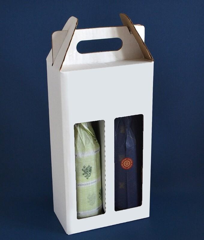 Box Corrugated Wine Bottle Pack 2 - White (each)