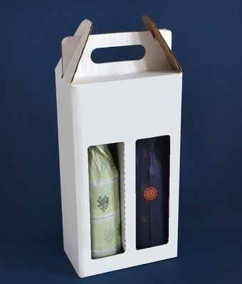 Box Corrugated Wine Bottle Pack 2 - White (each)
