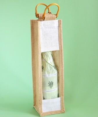 Hessian 1 Wine Bottle Bag Window 10 x 36 x 10cm (ea)