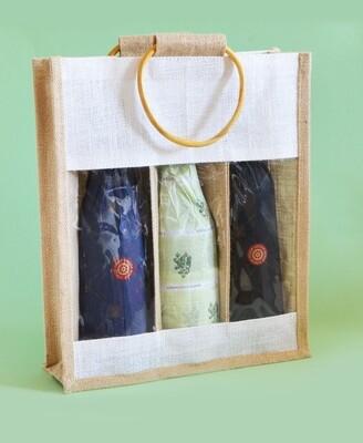 Hessian 3 Wine Bottle Bag Window 36 x 30 x 10cm (ea)