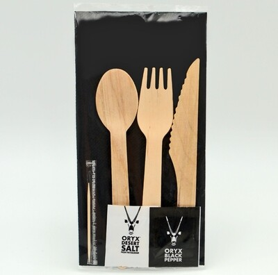 Wrapped Cutlery Set: Wood K/F/S + W/tpick + S&P + B/Nap (10)